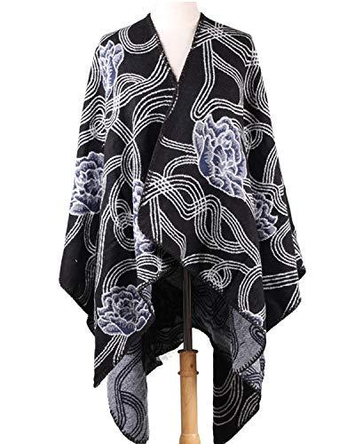 FENXIMEI dames vintage bedrukte omkeerbare gebreide jas sjaal wrap voorzijde open jacquard poncho cape