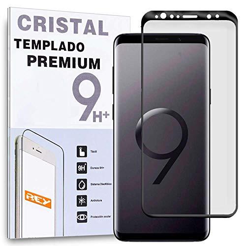 REY Protector de Pantalla Curvo para Samsung Galaxy S9 Plus / S9+, Negro, Cristal Vidrio Templado Premium, 3D / 4D / 5D