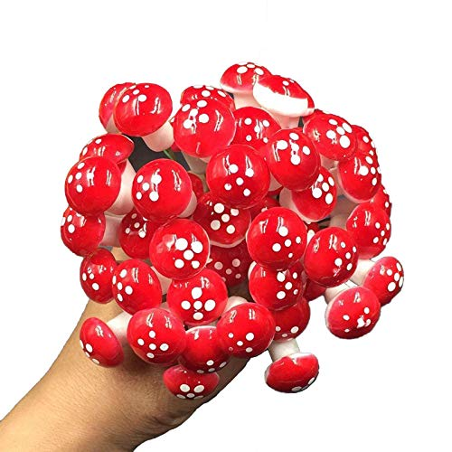 100 Piezas Setas de Jardín, Mini Hongos Ornamentos, Miniatura Hada De La Seta Jardín Micro Paisaje Planta De Los Bonsai Decoración De Resina Mini Hongo Rojo, Estatua de Maceteros