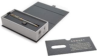Parker Sonnet Cisele Pen Prestige Chiselled Silver Gold Trim Fine Point Black Ink Bundle With DiLoro Pen Case (BallPoint)