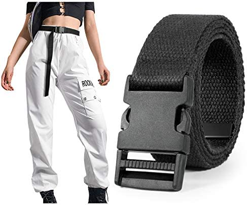 Canvas Belt for Women SANSTHS Quickle Release Extra Long web Casual Belt with Flat Buckle for product image
