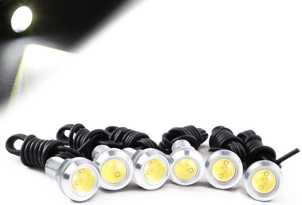 HOTSYSTEM 3w LED Eagle Eye Bumper DRL Fog Light Motorcycle Light Daytime Running DRL Tail Backup Light White 6pcs
