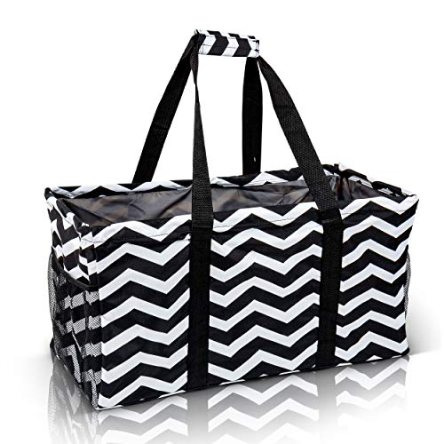 Extra Large Utility Tote Bag - Oversized Collapsible Reusable Wire Frame Rectangular Canvas Basket With Two Exterior Pockets For Beach, Pool, Laundry, Car Trunk, Storage - Chevron Black