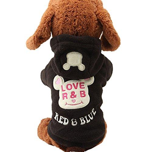 Wodery Puppy Vêtements pour animaux domestiques Manteau d'hiver chaud Hoodie Dog Coat Jacket Vêtements pour chien Pet, XS / S / M / L