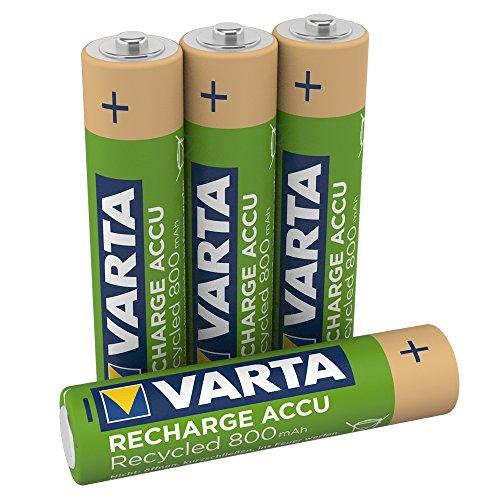 VARTA Recharge Accu Recycled wiederaufladbar, Ready-To-Use vorgeladener AAA Micro Ni-MH Akku (4er Pack, 800mAh) - aus 11% recyceltem Material - wiederaufladbar ohne Memory Effekt