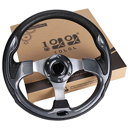 10L0L Golf Cart Steering Wheel, Generic of Most Golf cart EZGO Club Car Yamaha (style1 Gray)
