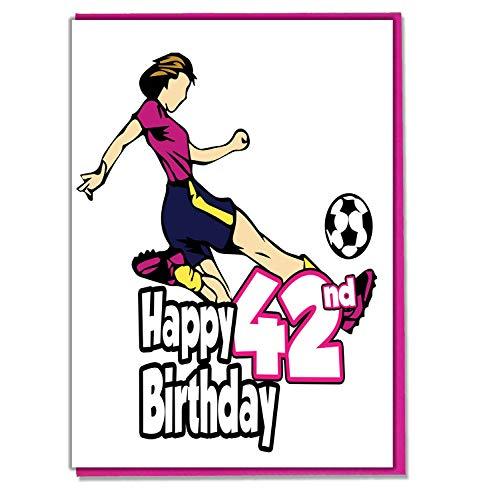 Vrouwelijke voetballer 42e verjaardagskaart - dames, dochter, kleindochter, moeder, zuster, vrouw, vriendin, vriend