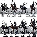 Antiguos soldados medievales Guerreros Caballero Caballero Adornos de caballos Modelo militar Modelo estático de juguete, Mini traje para niños 12 soldados + 8 Caballeros de jinetes modelo antiguo