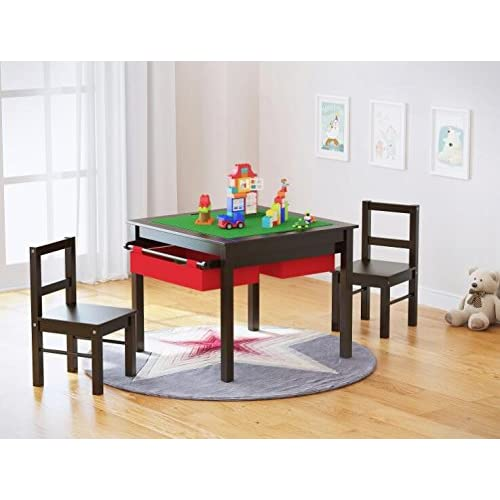 Kids Table And Chairs Set Espresso: Lego Table With Storage: Amazon.com