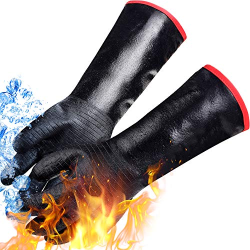 Heat Resistant-Smoker BBQ Gloves 17 Inch,932℉, Grill, Cooking BBQ Gloves, to Handling Heat Food Right on Your Fryer,Grill,Oven. Waterproof, Fireproof, Oil Resistant Neoprene Coating (17INCH-932℉)