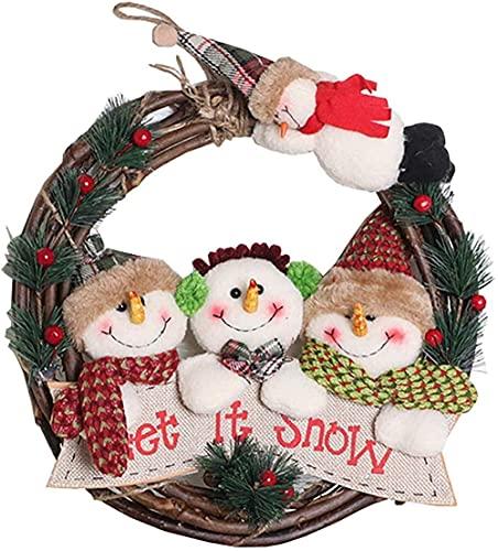 Weihnachtsfront Türkranz - Winter Sackleinen Kranz Kranz Rattan Kreis Bauernhaus Kranz auf - Erntedankstür auf Outdoor B PE-B