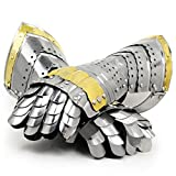 Nagina International Medieval Warrior Steel Gothic Knight Style Warrior Functional Gloves & Gauntlets | Brass Accent