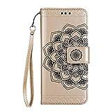 Funda Galaxy S5,Surakey Marco de Cuero de la PU Flip Protectora de Cuerpo Completo Case Cover Slim Case de Estilo Billetera Carcasa Libro de Cuero para Samsung Galaxy S5,Dorado a