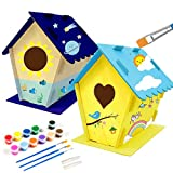 Kids Crafts Wood Arts and Crafts for Kids 4-6 2-Pack DIY Bird House Kits for Children to Build and Paint Reinforced Design Pretend Play Toys for 3 4 5 6 Year Old Boys and Girls
