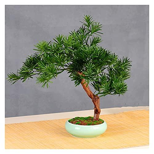 Planta Artificial para bonsái Árbol de pino artificial Bonsai, planta en maceta de 23 pulgadas, ornamentos de olla de árbol falso Cedar Bonsai Plant para salones, salas de té Falsas Plantas Artificial