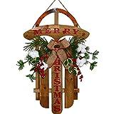 Timpfee Decoración colgante de Navidad, trineo de madera simulación de pino, decoración interior duradera, suministros de ambiente para hogar, oficina, puerta, estantería