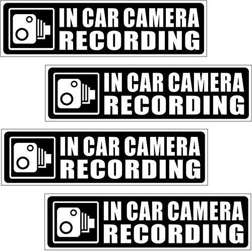 """(4 Pack) 5.3""""x1.35"""" - in Car Camera Recording - Vehicle Car Truck Video Dash Cam On Board Bumper Window Safety Security Caution Warning Adhesive Vinyl Decal Label Sticker"""