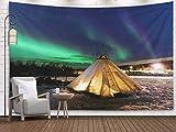 Tapiz de pared para colgar, decoración de tiendas de campaña tradicionales en Noruega, las luces polares, piel de reno, yurtas laponas, región de Troms, para dormitorio, sala de estar, decoración, tap