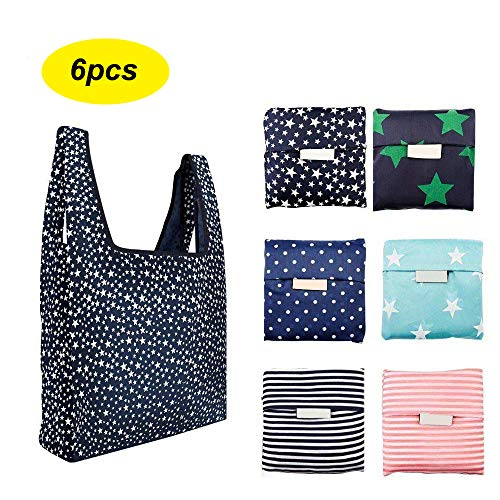 6 Pack Reusable Shopping Grocery Bags Foldable Washable Grocery Tote with Pouch 35LB Weight Capacity Heavy Duty Shopping Tote Bag EcoFriendly Purse Bag Fits in Pocket Waterproof amp Lightweight