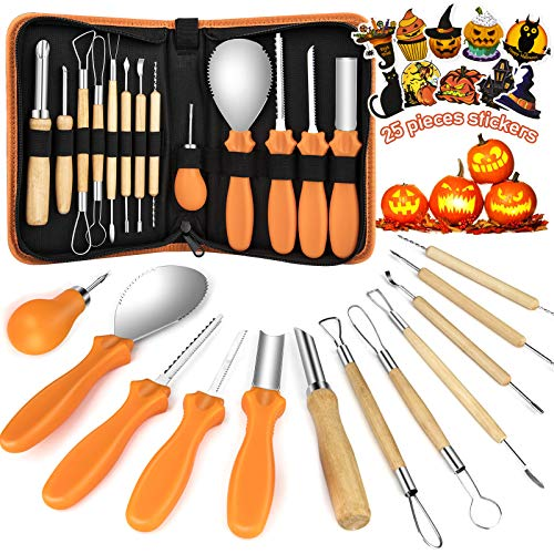 Kaqinu Halloween Pumpkins Carving Tool,13 Pcs Professional Stainless Steel Safety Carving Kit Pumpkin Knife Set with Zipper Storage Case and 25 Pieces Stickers