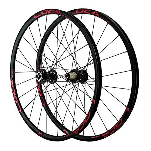 YXYH 26 27.5 in Bike Wheels Front Rear Wheelset Bicycle Double Wall Rim Quick Release Six-Nail Disc Brake for 7/8/9/10/11/12s Cassette Flywheel (Color : Black Hub red Label, Size : 27.5inch)