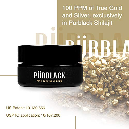 Pürblack Live Resin True Gold & Silver Shilajit - Genuine, High-Efficacy, 4th Generation Shilajit (30g Jar)