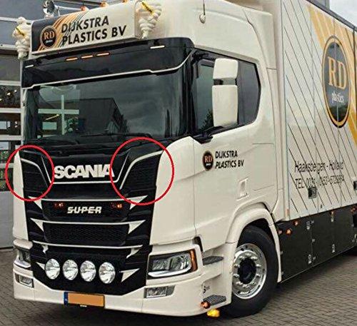 2x Edelstahl Obergarnier-Luftgitterblenden für Scania S 2016 + poliertes Chrom