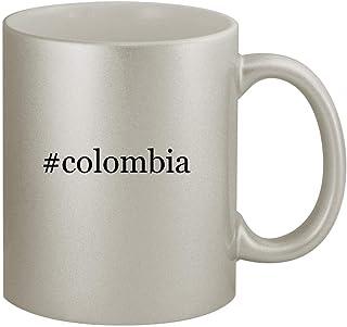 #colombia - 11oz Hashtag Silver Coffee Mug Cup, Silver