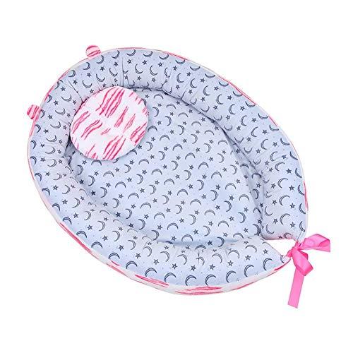 ZHANGXJ Portátil Encantador Nido de Bebé Recién Nacido Reductor Protector de Cuna Nest Algodón Multifuncional Capullo Portátil Pequeño Cama de Viaje 0-8 Meses Respirable (Color : Pink)