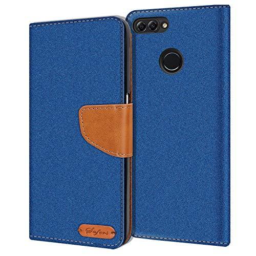 Preisvergleich Produktbild Conie Huawei P Smart Hülle für P Smart Tasche,  Textil Denim Jeans Look Booklet Cover Handytasche Klapphülle Etui mit Kartenfächer,  Blau