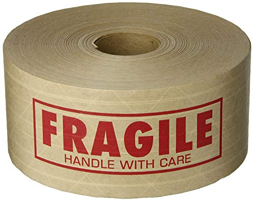 TapeCase 150KPT-2'Fragile' Printed Kraft Water Activated Tape 3' x 450' (1 Roll)
