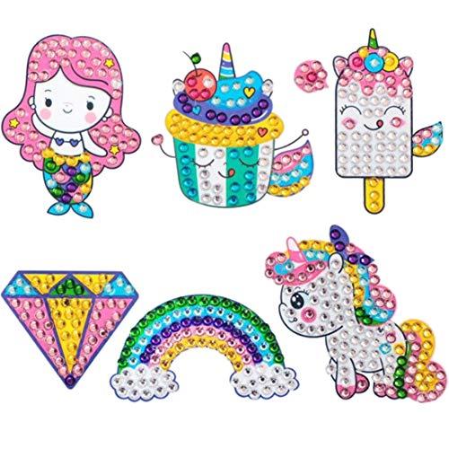 YUESEN Unicornio Pintura Diamante 5D Pintura de Diamante Sirena 6pcs Mosaico Pegatinas Pintura Pequeña y Fácil DIY Decoración de Hogar para Adultos o Niños