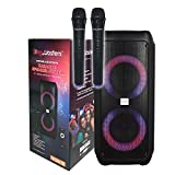 SingMasters Party Box Karaoke Machine Speaker for Kids & Adults,Portable Singing Speaker System,Bluetooth,DJ Lights,Recording,Bonus 2 Wireless Dual Microphones & Remote,Best Christmas & Birthday Gift