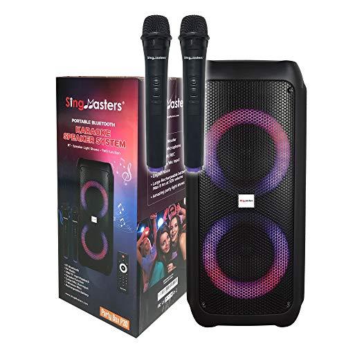 SingMasters Party Box Karaoke Machine Speaker for Kids & Adults,Portable Singing Speaker System,Bluetooth,DJ Lights,Recording,Bonus 2 Wireless Dual Microphones & Remote,Best Christmas & Birthday Gift