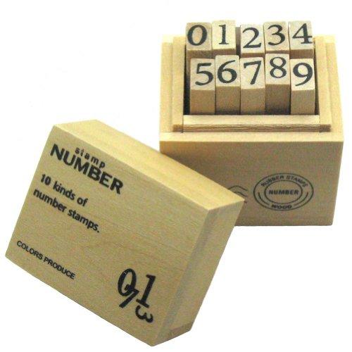 丸和貿易 ウッドボックス スタンプ ナンバー 数字 はんこ 木製 ハンドメイド M 100325102