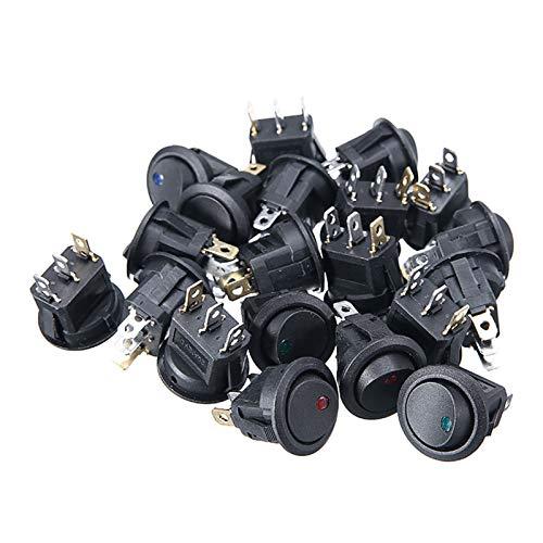 Interruptor de coche 20x Coche Interruptor de pulsador encendido / apagado Redondo Rocker Interruptor LED Tablero de instrumentos Tablero de instrumentos Dash Boat 12V Tapa impermeable Automóviles, ca