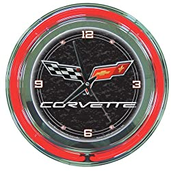 Chevrolet Corvette Chrome Double Ring Neon Clock, 14