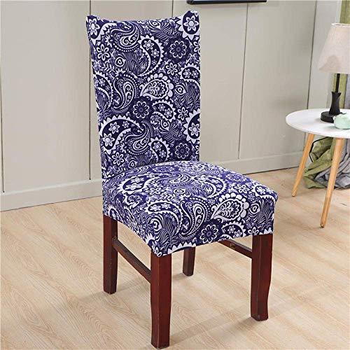 Stuhlbezug Stretch Dining Chair Covers aus blauem und weißem Porzellan mit hoher Rückenlehne Schutzhülle Schonbezug, abnehmbare Schonbezüge aus weichem Spandex für die Küche des Hotelesszimm