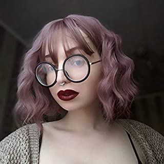 MISSQUEEN Light Purple Short Wavy Bob Wigs with Bangs for Women Synthetic Natural Looking Heat Resistant Fiber Hair for Women