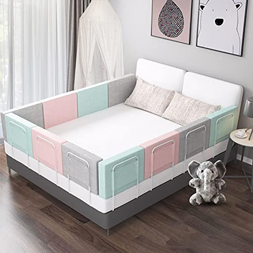 Anti-Fall Bed Guardrail, Kids Bed Rail Protective Toddler Safety Bed Rail with Safety Lockable Buckle 5 Gears Adjustable for Travel and Home Use