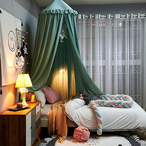 SETSCZY Dosel de cama para niños, cúpula redonda, decoración de guardería, mosquitero, tiendas de campaña para niños, decoración de habitación para bebé, verde