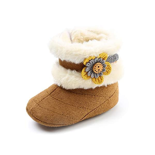 SOFMUO Baby Girls Boys Plush Snow Boots Soft Sole Anti-Slip Mid Calf Warm Winter Toddler Walking Shoes