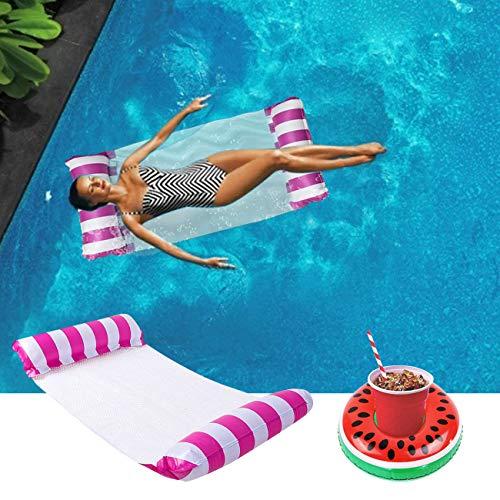Yitla Materassino gonfiabile per piscina + set portabibite gonfiabile, amaca 4 in 1, poltrona lounge, materasso gonfiabile per adulti e bambini (rosa)