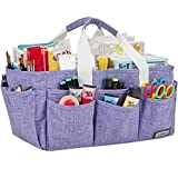HOMEST Craft Organizer Tote Bag with Multiple Pockets, Storage Art Caddy for Scrapbooking, Crafts Supply Carrier for Tools, Purple