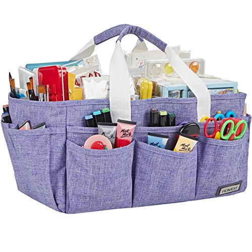 HOMEST Craft Organizer Tote Bag with Multiple Pockets, Storage Art Caddy for...