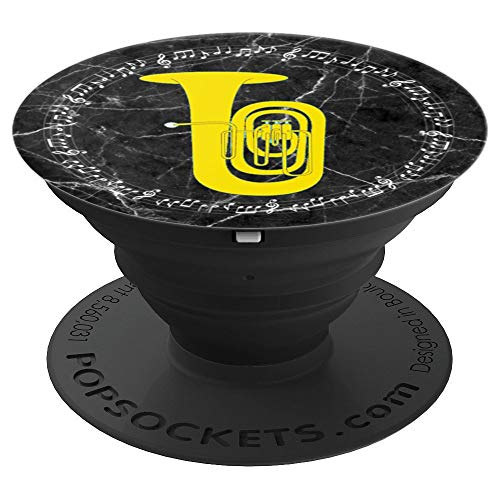 Tuba Player Gift - Music Notes Black Marble Background PopSockets Grip and Stand for Phones and Tablets