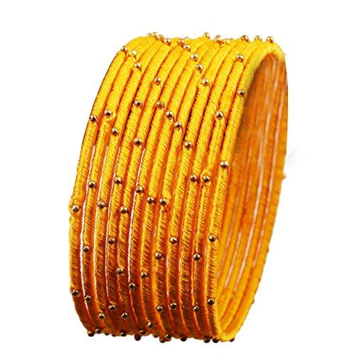 Touchstone Seidenfaden Armreif Kollektion handgefertigten Kunstseidenfaden mit Perlen exotischen Look feuergelb Designer Armreifen für Damen 2.5 Set von 12 Gelb