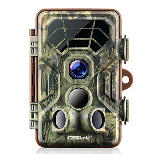 Campark Trail Game Camera 1080P Night Vision Waterproof Hunting Scouting Cam for Wildlife Monitoring with 120°Detecting Range Motion Activated 2.4' LCD IR LEDs 3 PIR 8MP