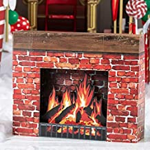 Shindigz Christmas Fireplace Cardboard Cutout Party Decoration Prop Standup Background Decor Scene Setter