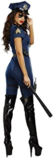 New Halloween Police Uniform Blue Piece Fitted Policewoman to Play (Color : Blue, Size : XL)